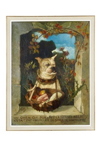 un chien qui portait la pitance au logis s'ètait fait un collier du dîner de son de son maître by ludovic lepic