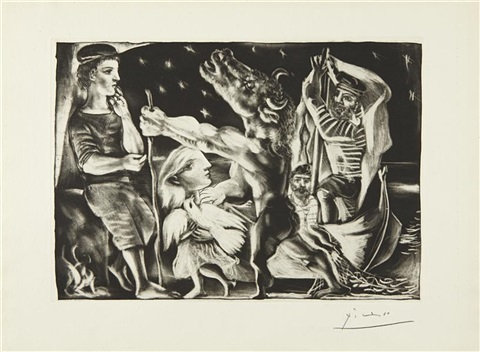 minotaur aveugle guidé fillette dans la nuit blind minotaur guided by a young girl in the night plate 97 from la suite vollard by pablo picasso