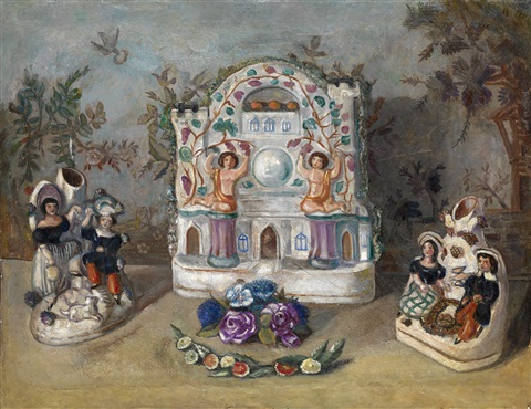 still life with porcelain figurines by sergei yurevich sudeikin