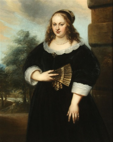 a portrait of a lady holding a fan with garden in background by jan lievens