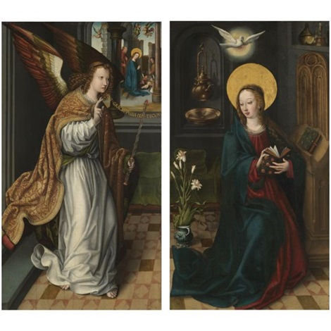 the archangel gabriel the virgin annunciate pair by dutch school southern 16