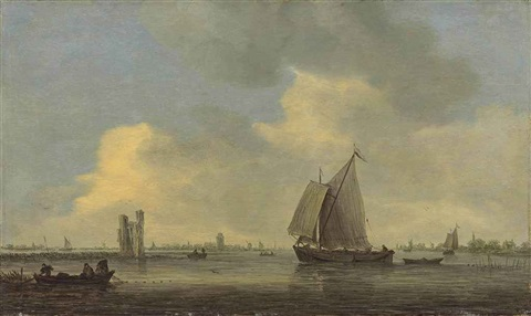 the merwede with a sailing boat and fishermen throwing out their nets near the huis te merwede dordrecht with the grote kerk and windmills beyond by jan josefsz van goyen