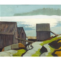 fish houses, blue rocks by george douglas pepper