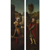 two figures holding symbols of the passion (pair) by adriaen isenbrant