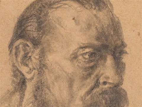 study of a male head by adolph von menzel
