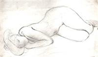 nu féminin allongé et endormi, sur le côté droit, les jambes repliées, la tête reposant au creux du bras droit, le bras gauche replié sous le menton by charles despiau