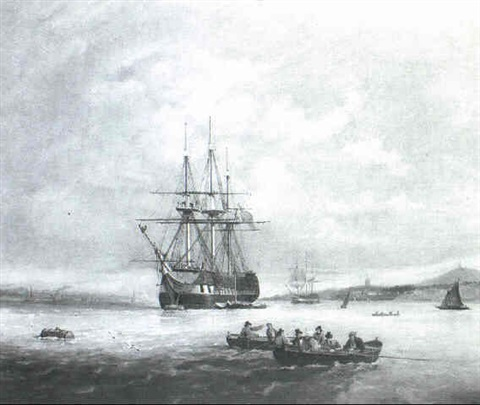 a man-o'-war and other shipping in coastal waters by r. pillans