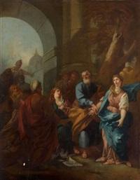 laban donne léa pour femme à jacob au lieu de rachel by pierre-jacques cazes