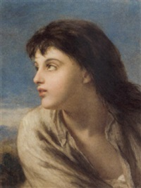 portrait of a young girl, set in a landscape by william charles thomas dobson