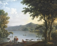 washerwomen conversing before a lake in an italianate landscape by carlo labruzzi