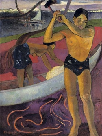 lhomme à la hache by paul gauguin