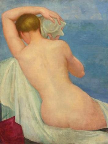 desnudo de espalda con caracol by angel zárraga