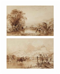 transplanting rice; sowing at soo-chow-foo (2 works) by thomas allom