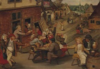 peasants drinking and merrymaking outside and inn (collab. w/studio) by pieter brueghel the younger