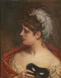 jeune femme au masque by jean françois portaëls