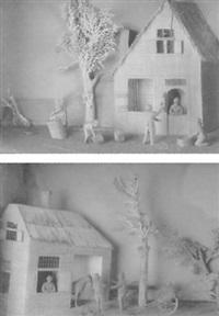 figuren bij een paardenstal en kuipers voor en hus by cornelis bavelaar
