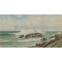 crashing surf, schooners in the distance by george howell gay