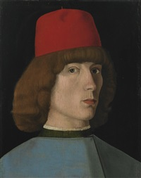 portrait of a young man, bust length, in a red cap by jacopo da valenza