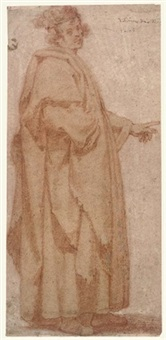 a figure in a long cloak pointing to the left by giovanni mannozzi