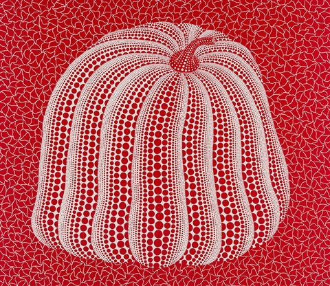 red colored pumpkin by yayoi kusama
