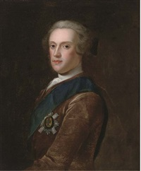 portrait of sir james hamilton, 6th duke of hamilton (1724-1758), bust-length, in a brown coat, wearing the star of the garter by jeremiah davison