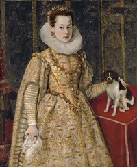 portrait of margherita of savoy in a white dress with gold and pink brocade, with flowers in her hair, standing next to a table with a king charles cavalier spaniel by sofonisba anguissola