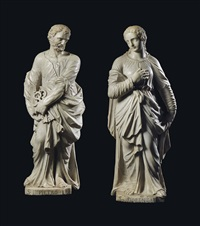 a pair figures of saint peter and saint florence by johann maria (giammaria) morlaiter
