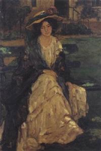 jeune fille au chapeau à fleur by henry salem hubbell