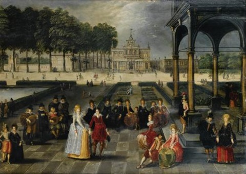 elégants dans le parc dun palais classique by louis de caullery