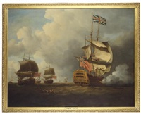 "the ""royal william"" firing a salute as she shortens sail when arriving at the fleet anchorage by samuel scott"