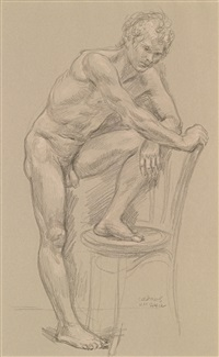 male nude #nm 144 a (preliminary study for nm 144) by paul cadmus