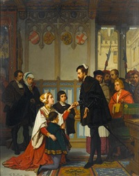 philippine welser seeking mercy from ferdinand i, holy roman emperor by wilhelm (guillaume) koller