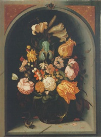 still life of tulips, lilies, moss roses and other flowers in a glass vase in a marble niche, with butterflies and a lizard by jan baptist fornenburgh
