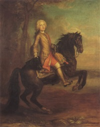 equestrian portrait of a gentleman, probably mr. glover,  dancing master in london by martin maingaud