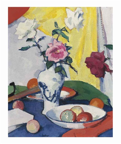 still life with roses yellow background by samuel john peploe