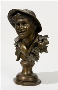 busto di giovane contadinella con cappello e corona di frutta sulle spalle by thomas campajola