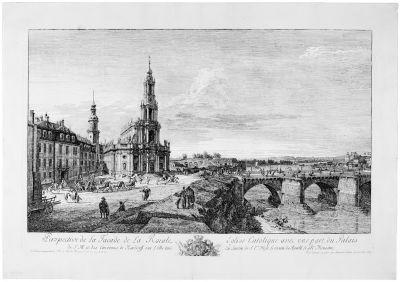 perspective de la facade de la roiale eglise catolique avec une part du palais de sm et des environs de neudorff sur lelbe  by bernardo bellotto
