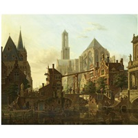 a lively townscene, utrecht by jan hendrik verheyen