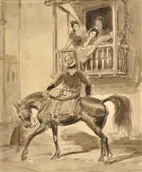 damitas en un balcon y gaucho a caballo by johann moritz rugendas
