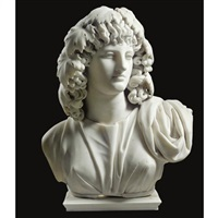 a bust of a bacchante by leandro biglioschi