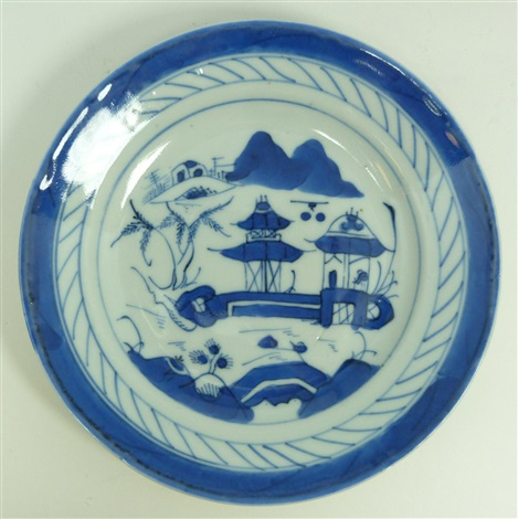 6 chinese blue & white porcelain round plates