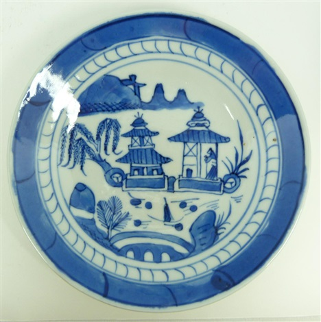 6 chinese blue white porcelain round plates