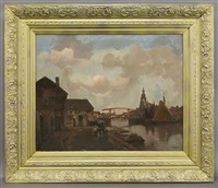 dutch canal scene by christiaan snijders