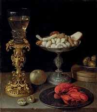 a roemer on a silver-gilt bekerschroef, sweetmeats in a silver tazza, langoustines on a plate, walnuts and an apple on a table top by jeremias van winghe