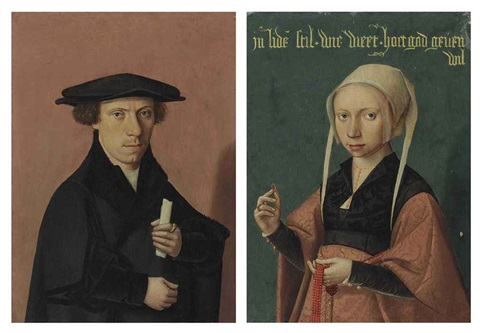 portrait of a young man in black, holding a scroll (+ portrait of a young woman, in a black and red damask dress, holding a coral rosary and a ring, 2 works) by jan van scorel