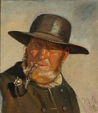 a fisherman at skagen, probably ole svendsen, smoking a pipe by michael peter ancher