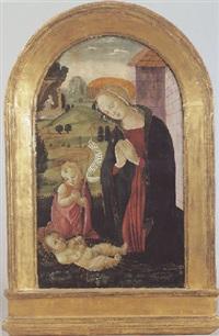 la vierge et le jeune saint jean-baptiste adorant l'enfant jesus dans un paysage by master of san miniato
