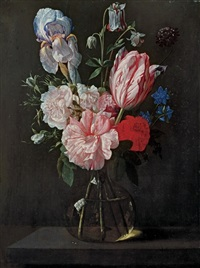 a tulip, roses, iris and other flowers in a glass vase on a ledge by nicolaes van veerendael
