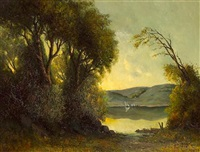 a view of a lake through the trees by h.j. krueger