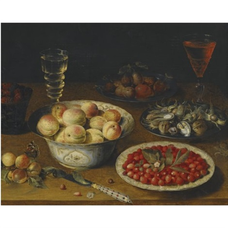 a still life with peaches fraises de bois mulberries and plums together with a plate of hazelnuts and walnuts a knife and two wine glasses on a wooden tabletop by osias beert the elder